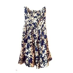 NWT Classique Floral Print Strapless Ruffle Dress
